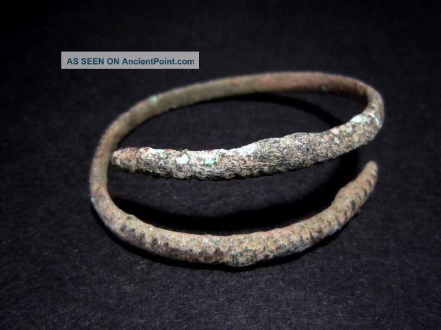 Extremely Rare Bronze Age Period Bronze Bracelet,  As Found, Roman photo