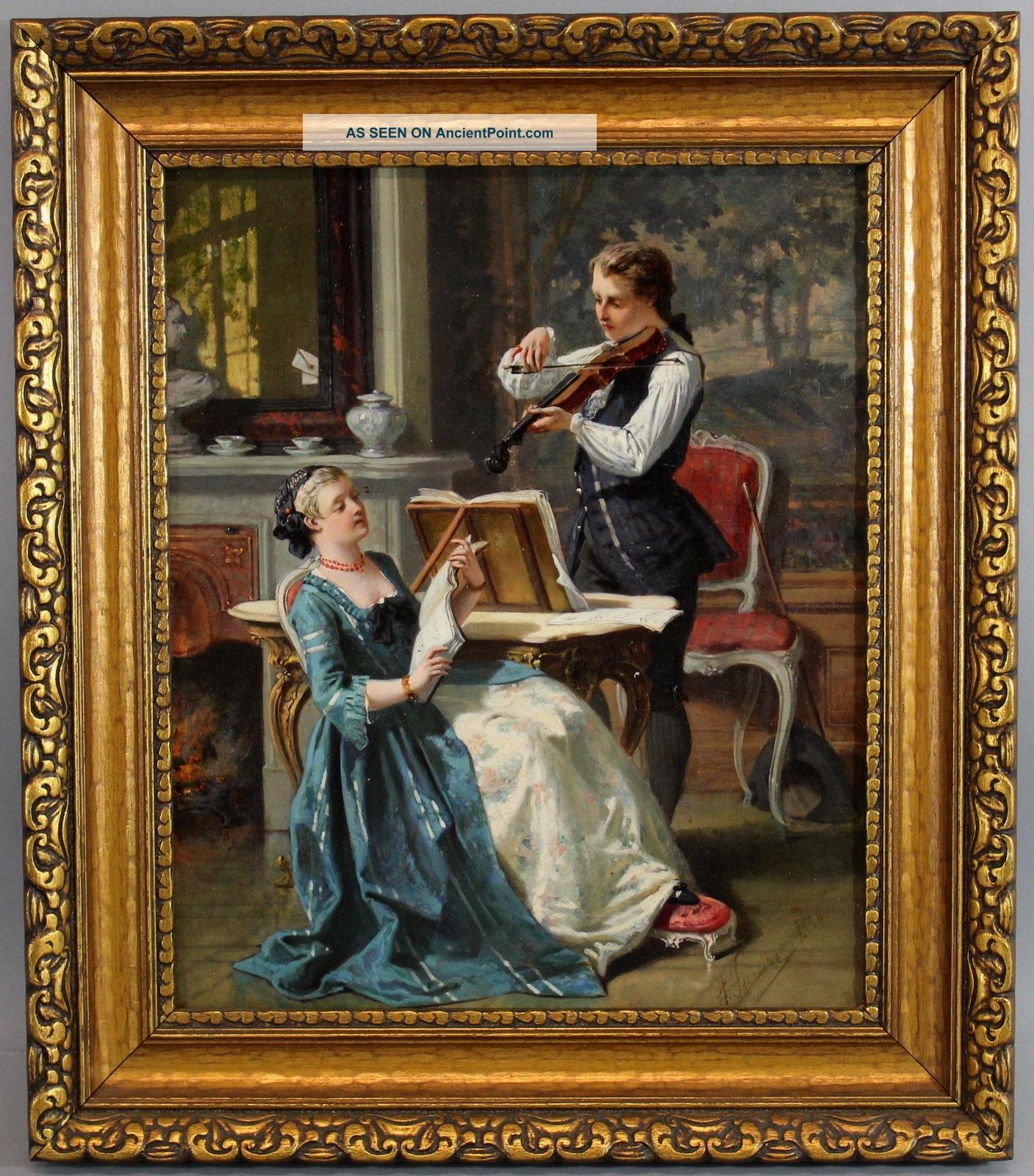 Antique 19thc Auguste Serrure Flemish Genre Musicians Violinist Oil Painting Nr String photo