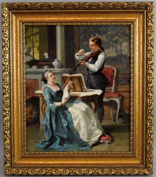 Antique 19thc Auguste Serrure Flemish Genre Musicians Violinist Oil Painting Nr photo