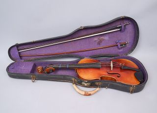 Antique Estate Found C1900 German Stainer Labeled Copy Violin W 2 Bows photo