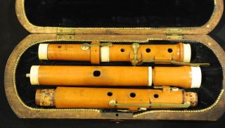 Antique Flute,  Max Kneer,  Munich 6 - Key,  Boxwood,  Bone Rings, photo