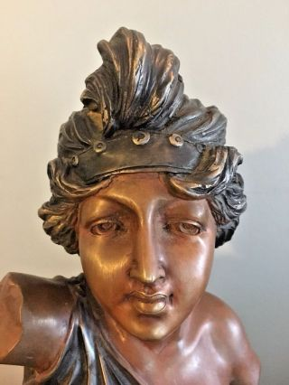Rare Cast Bronze Vintage Patinated Bust Sculpture Art Nouveau Maiden Woman Girl photo