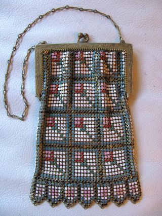 Antique Art Deco Gold T Frame Geometric Pink Red Blue Enamel Chain Mail Purse photo