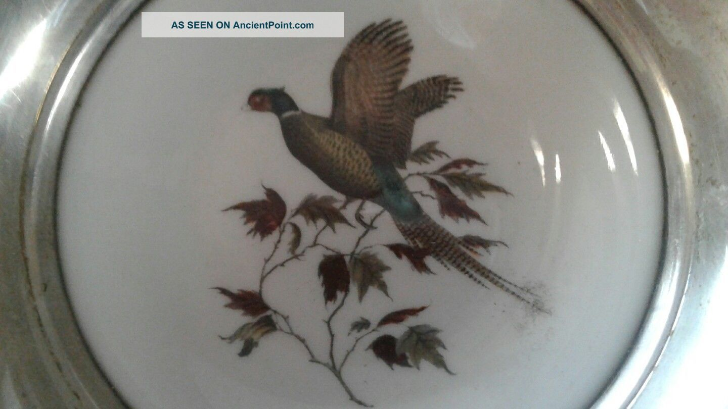 Vintage Frank Whiting Sterling Silver Porcelain Bird Pheasant Coaster Dish Dishes & Coasters photo