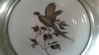 Vintage Frank Whiting Sterling Silver Porcelain Bird Pheasant Coaster Dish photo