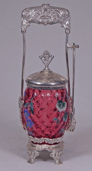 Antique Cranberry W Enamel Flowers Pickle Castor Rockford Silver Plate photo