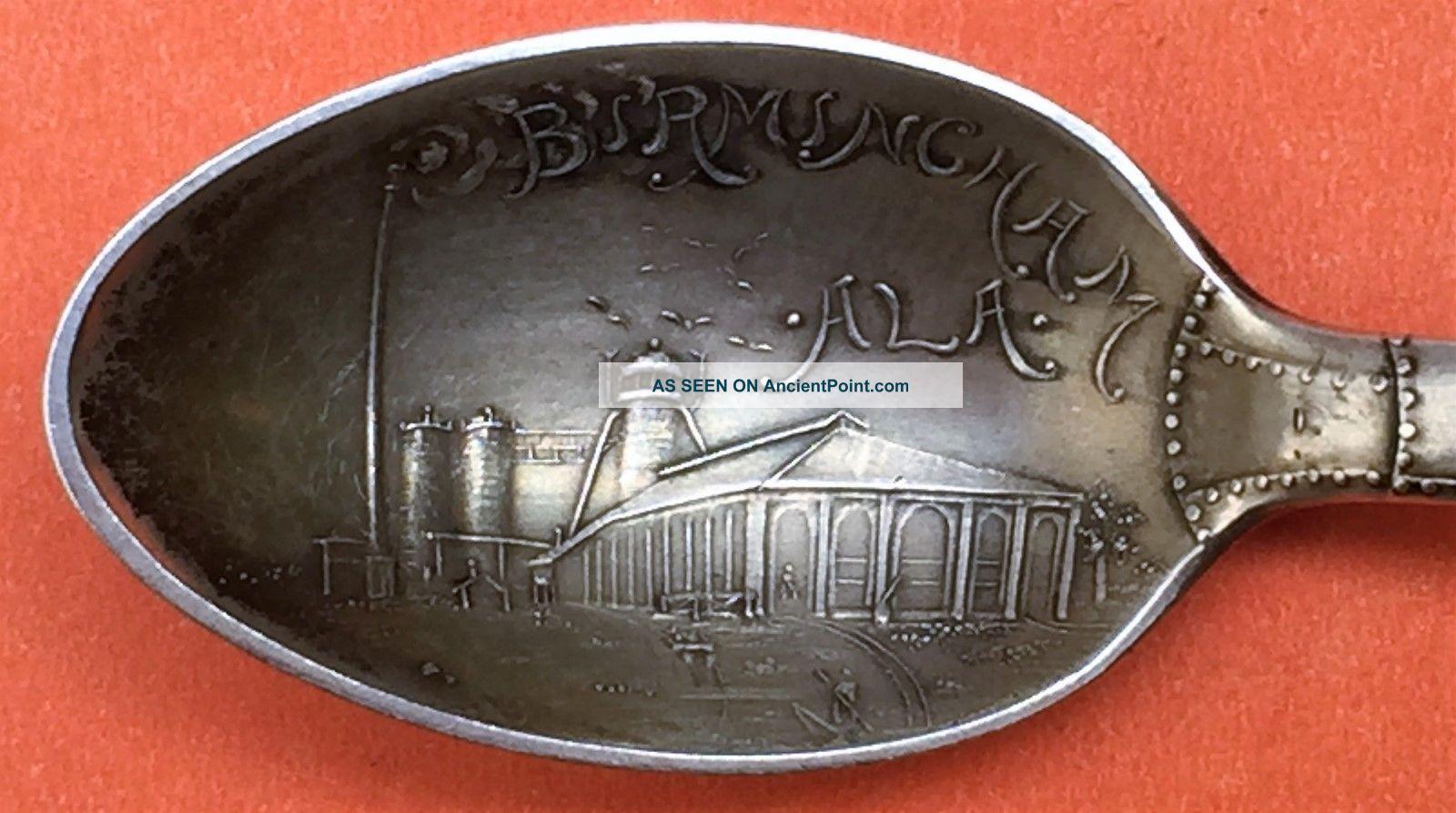 Rare Figural Smokestack Birmingham Alabama Sterling Silver Souvenir Spoon Souvenir Spoons photo