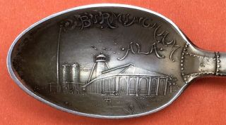 Rare Figural Smokestack Birmingham Alabama Sterling Silver Souvenir Spoon photo