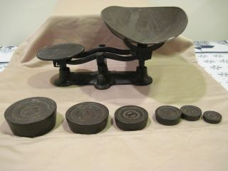 Vintage Black Antique Cast Iron Hardware Candy Counter Scale W/ Weights photo