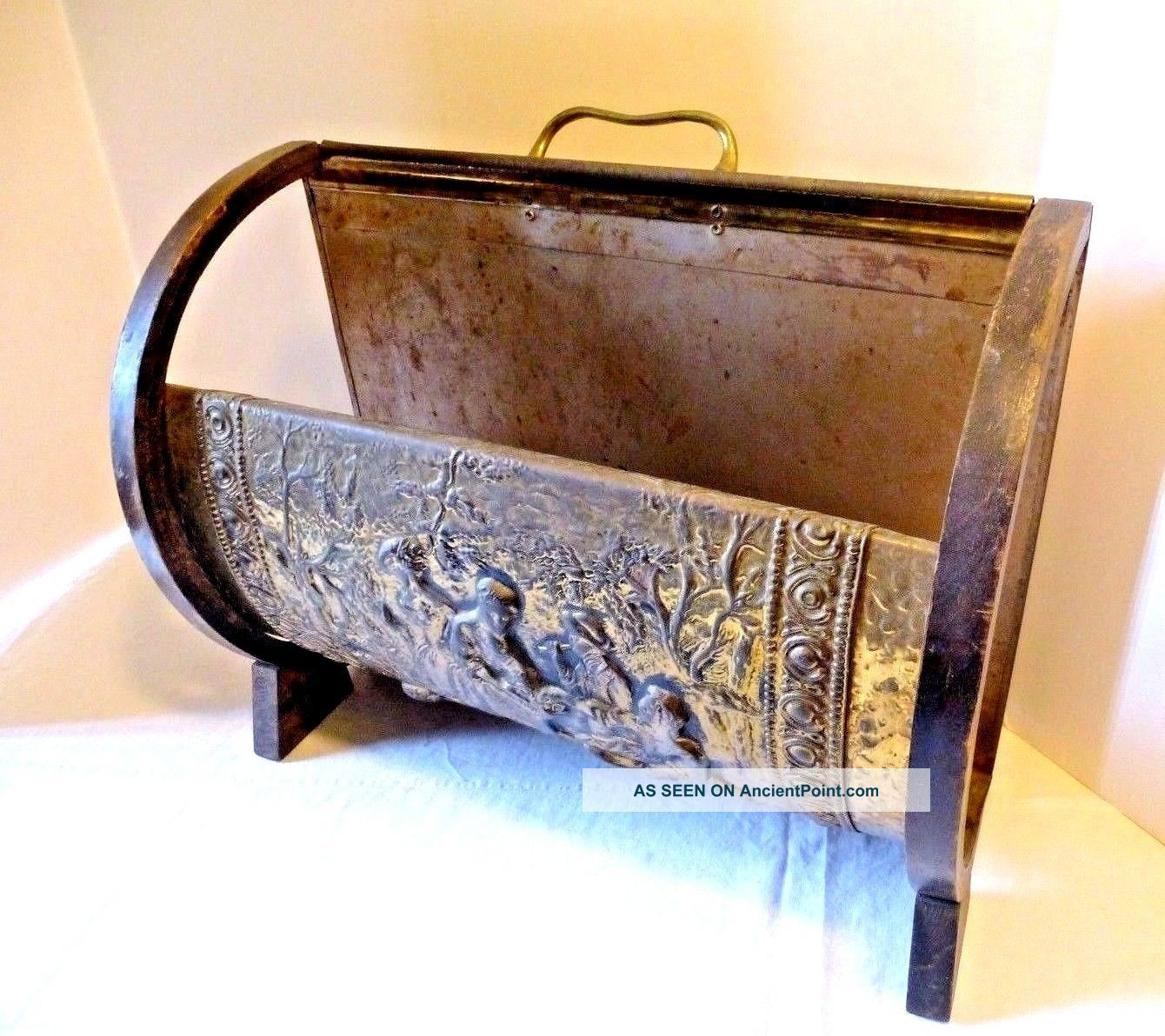Vintage Fireplace Hearth Log Kindling Holder Carrier Embossed Design Hearth Ware photo