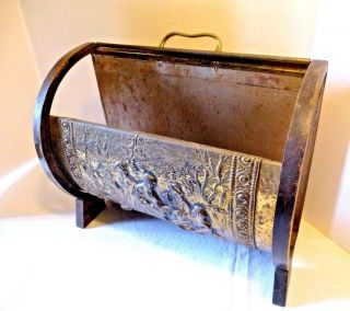 Vintage Fireplace Hearth Log Kindling Holder Carrier Embossed Design photo