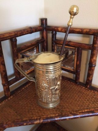Vintage English Brass Pitcher W Pumice Stone Wand Fireplace Fire Starter Hearth photo