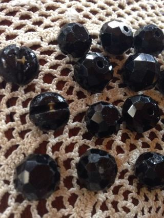 30 Victorian Antique Round Black Glass Faceted Ball Buttons Inside Shanks photo
