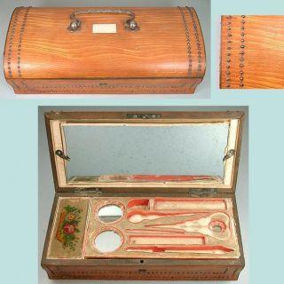 Antique Palais Royal Box W/ Silk Lining,  Mirror & Pincushion French C1820 photo