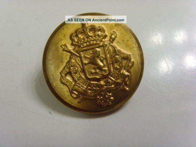 Antique Metal Lion Shield Crown Arrows Coat Of Arms Uniform 1 1/8  Button 46969 Buttons photo