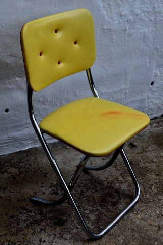 Retro Folding Chair Krome Lee Industries Naugahyde Tuck Yellow Vintage photo