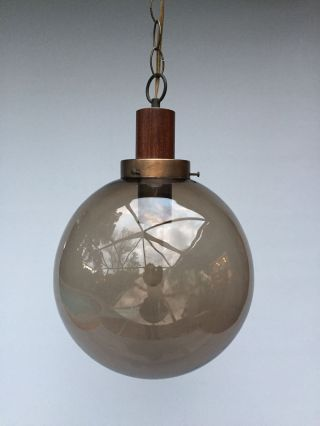 Vintage Modern Swag Lamp - Smoked Glass Globe photo