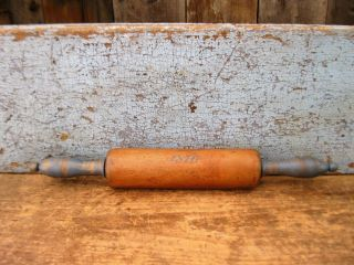 Antique German Rolling Pin Chambray Blue Milk Paint 1876 photo