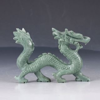 100 Natural Dushan Jade Hand Carved Dragon Statues Dy212 photo