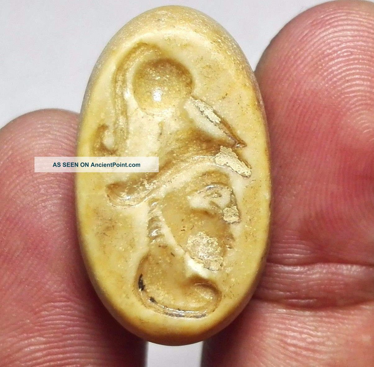 Face Intaglio Carved Stone Seal Pendant Bead 15 X 26 X 18 Mm 10 G. Near Eastern photo