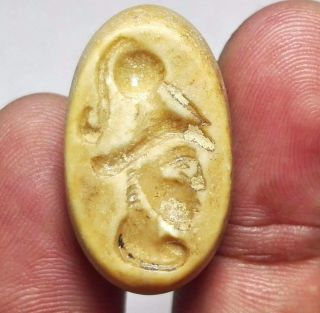 Face Intaglio Carved Stone Seal Pendant Bead 15 X 26 X 18 Mm 10 G. photo