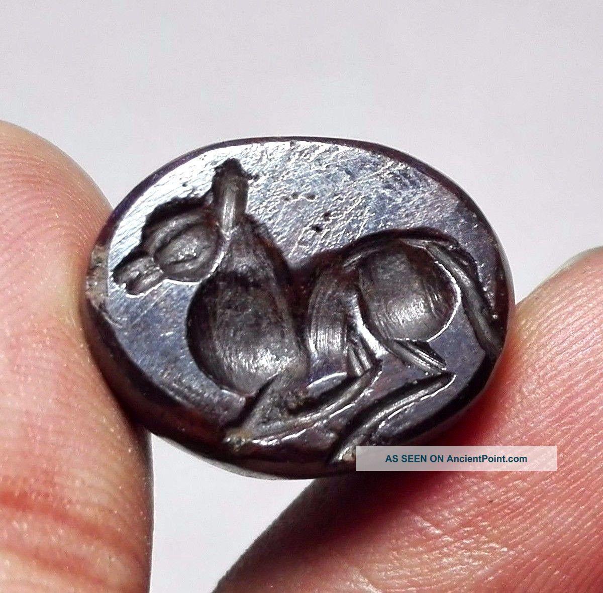 Horse Stamp Sassanian Empire Zoomorphic Pirite Dome Seal Matrix Bead Near Eastern photo