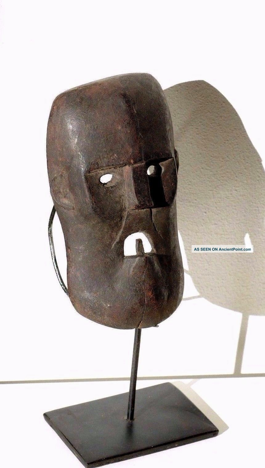 Little Mask With Tooth And Angry Face - Timor - Tribal Artifact Pacific Islands & Oceania photo