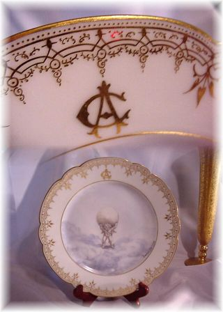 Antiq French Limoges? Porcelain Plate Hand Painted Cupid Clouds Pauline Vaunien photo