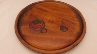 10 - Inch Vintage Japanese Wooden Tray Or Plate For Service Or Display photo