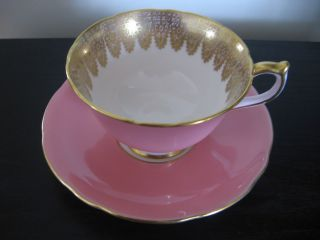 Aynsley Pink Gold Lace Teacup And Saucer photo