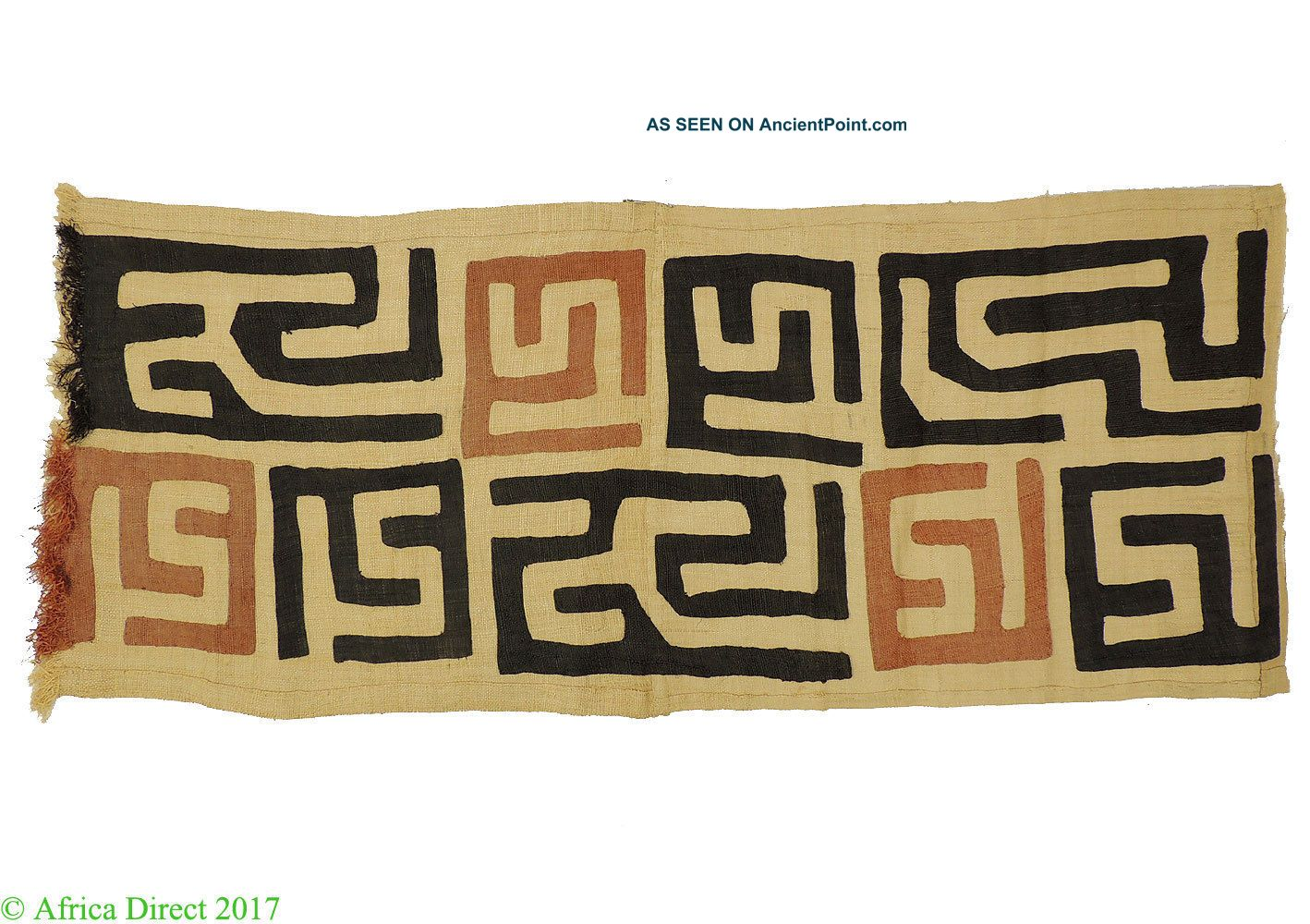 Kuba Textile Raffia Handwoven Congo African Art 39 Inch Other African Antiques photo