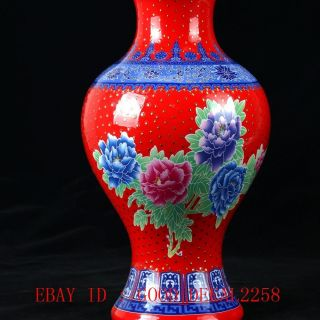 Chinese Home Pastel Porcelain Hand - Painted Peony Vase W Qian Long Mark photo