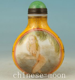 Rare Chinese Old Glass Handmade Painting Europe Girl Statue Snuff Bottle photo