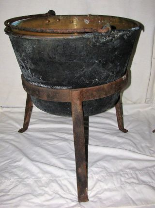 19th Century Small Copper Apple Butter Kettle With 3 Leg Stand. photo