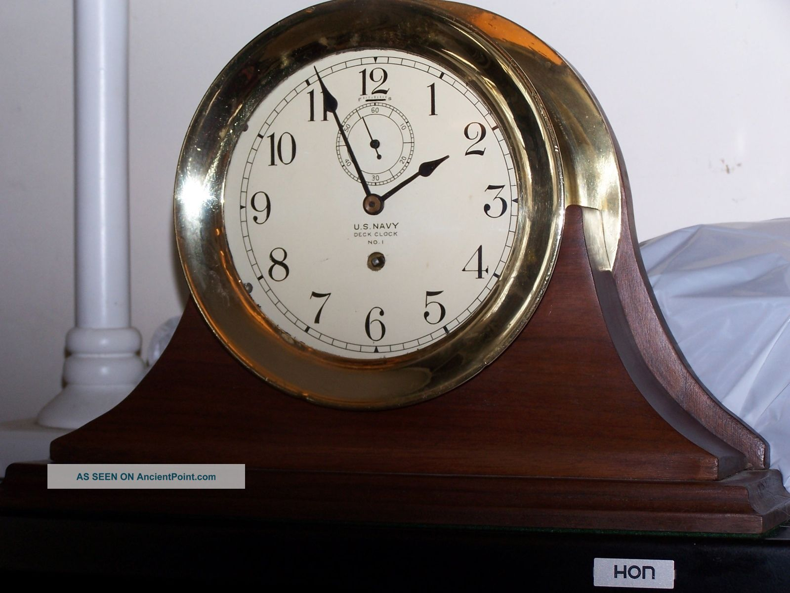 Waltham Us Navy Ship Clock With Two 6 Inch Dials And Wood Chelsea Type Stand Clocks photo