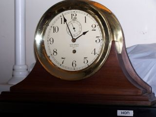 Waltham Us Navy Ship Clock With Two 6 Inch Dials And Wood Chelsea Type Stand photo