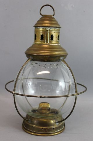 Antique Maritime,  Perkins 6,  Brass Kerosene Ships Lantern, photo