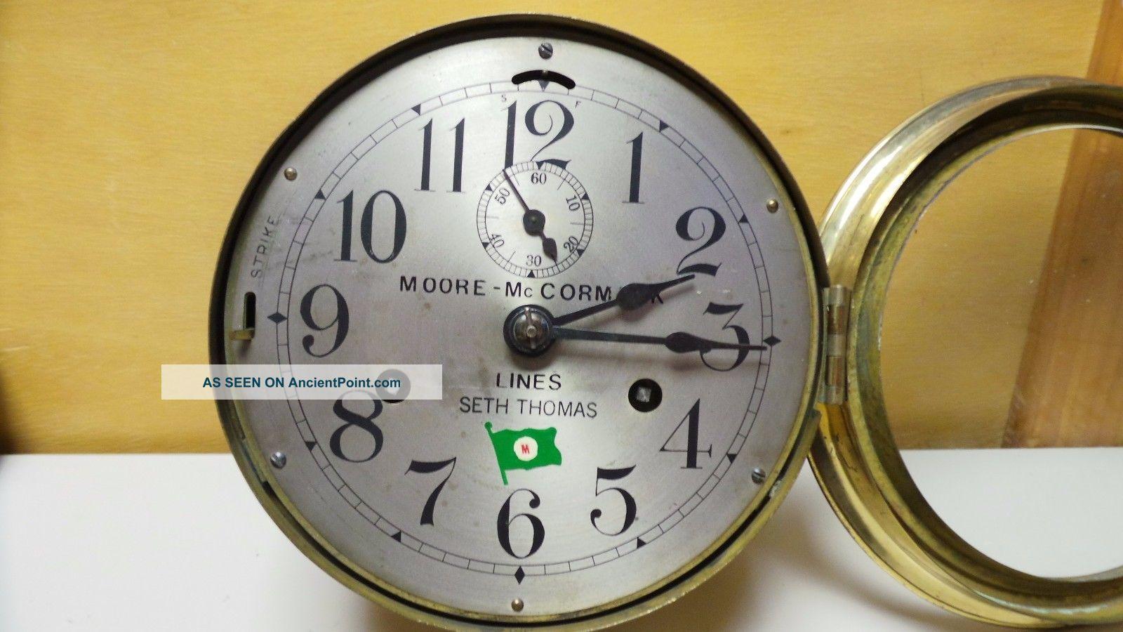 Moore - Mccormack Lines Seth Thomas Ship ' S Internal Bell Maritime Clock 6