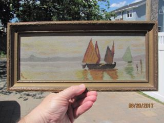 Vintage/antique 1922 Art Deco Modernist Impressionism Sail Boat Signed Painting photo