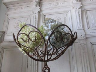 Awesome Old Vintage French Wire Metal Basket Stand Chippy Rusty Very Ornate photo