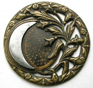 Lg Sz Antique Pierced Brass Button Steel Crescent Moon Harvest Scene 1 & 7/16 photo