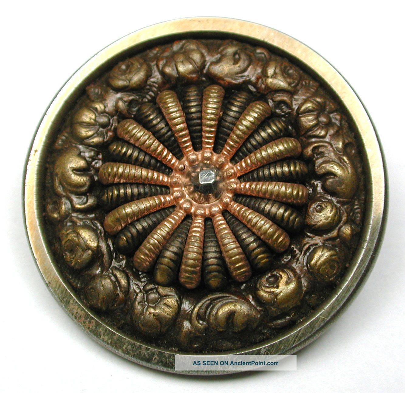 Lg Sz Antique Steel Cup Button Fancy Brass Floral W/ Cut Steel Accent 1 & 1/4