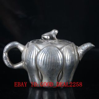 Old Silver Copper Handwork Carved Lotus Teapot With A Cute Cover Bt059 photo
