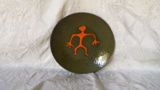Mid Century Modernist Mcm Orange Man Enamel On Metal Dish 6 3/8