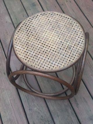 Mid Century Modern Bentwood/rattan & Cane Footstool Ottoman Stool Seat Thonet photo