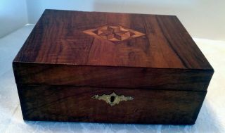 Antique Victorian Inlaid Dresser Jewelry Box photo