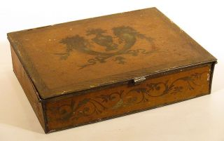 1800s Fine Scarce Tin Toleware Lap Desk Covered Box Yellow Cornucopias Urn Vines photo