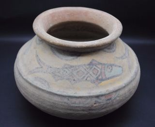 Large Indus Valley Terracotta Decorated Pot Harappa Culture 3300 - 1200 Bc photo