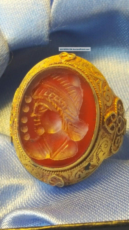 Greek Gold Intaglio Ring Rare Roman photo