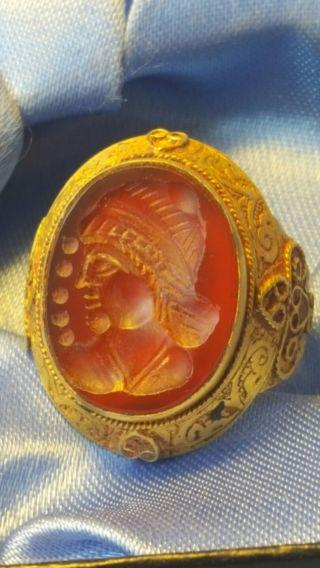 Greek Gold Intaglio Ring Rare photo